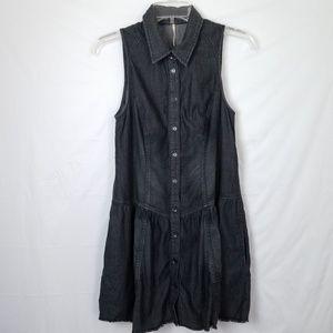 FP Black Denim Faded Sleeveless Mini Dress